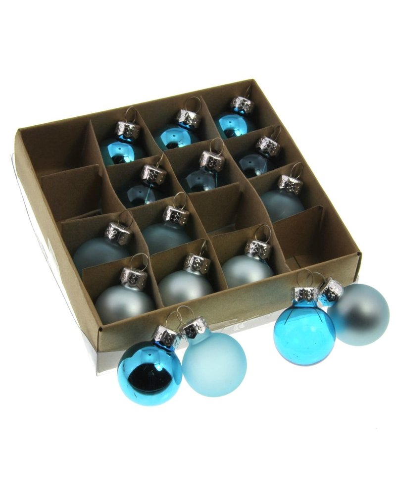 HomArt Teeny Tiny Glass Ornaments, Box of 16 Assorted Teal