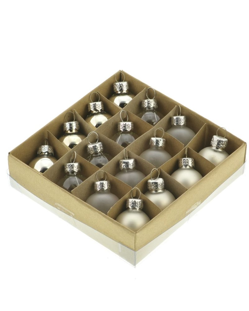 HomArt Teeny Tiny Glass Ornaments, Box of 16 Assorted Silver