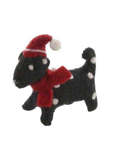 HomArt Felt Christmas Puppy Ornament-Black with White Spots