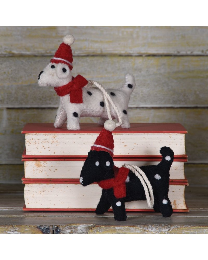 HomArt Felt Christmas Puppy Ornament-Black with White Spots