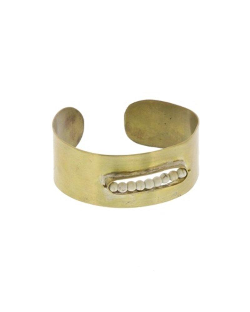OraTen Kona Brass Cuff - Howlite Stones