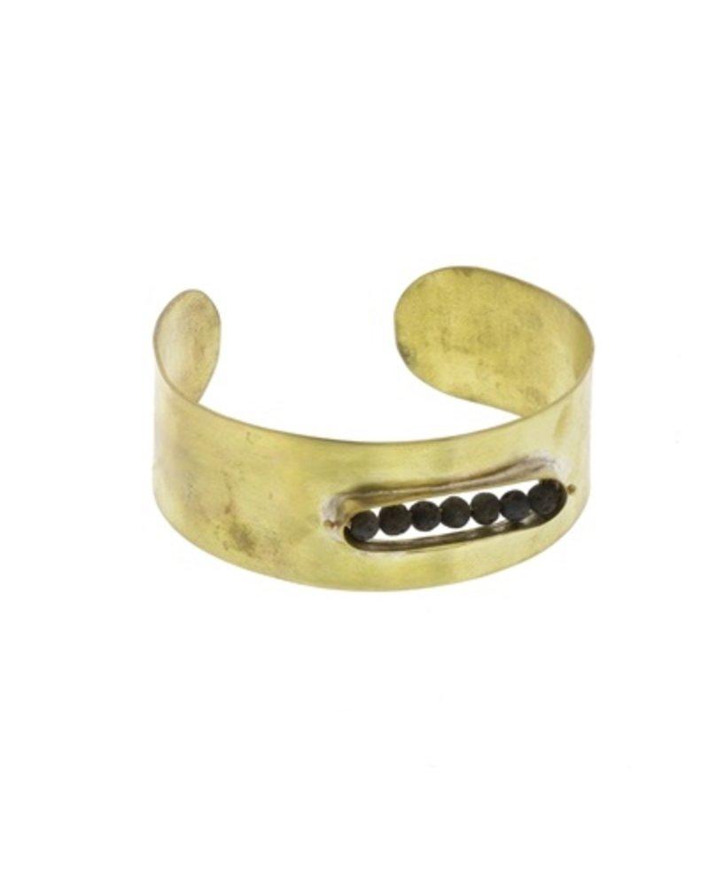 OraTen Kona Brass Cuff - Lava Stones