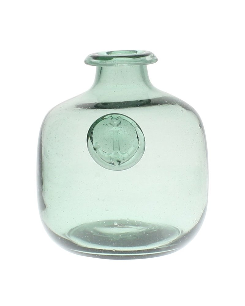HomArt Anchor Stamped Glass Bottles Sm - Smoke Green