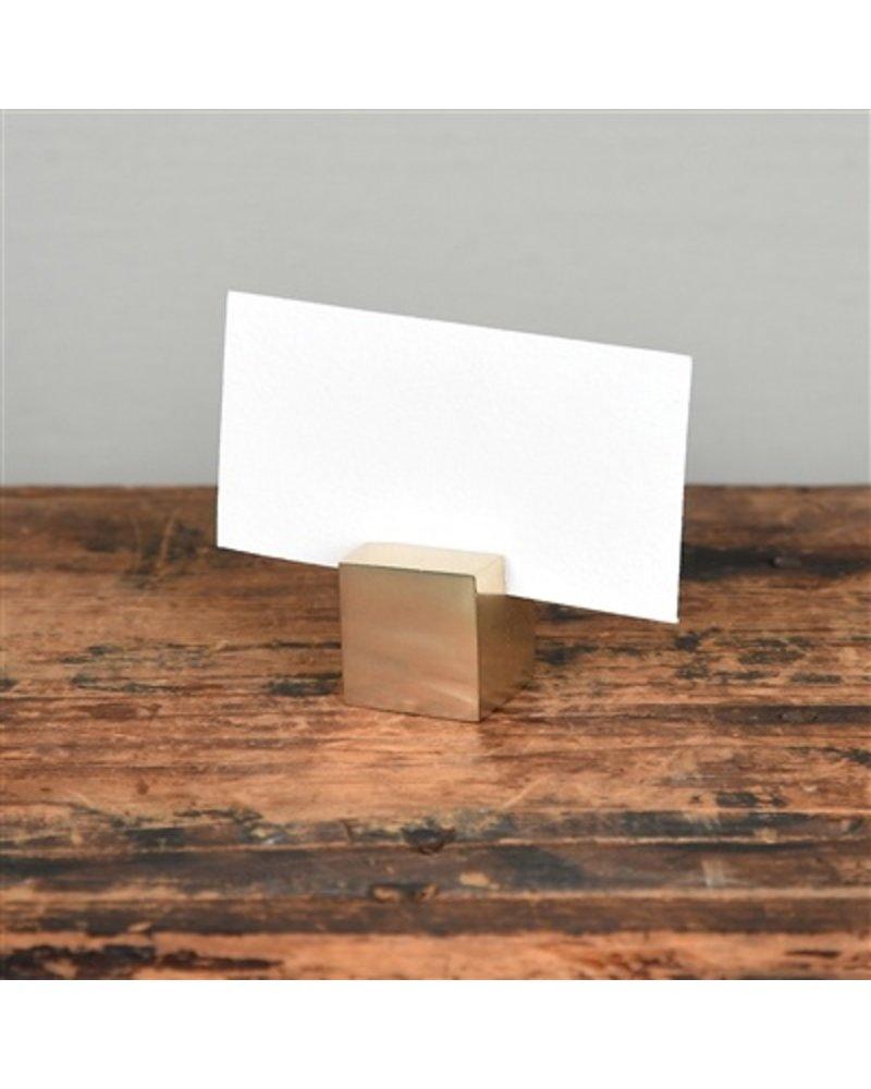 HomArt Brass Cast Iron Cube Place Card Holder