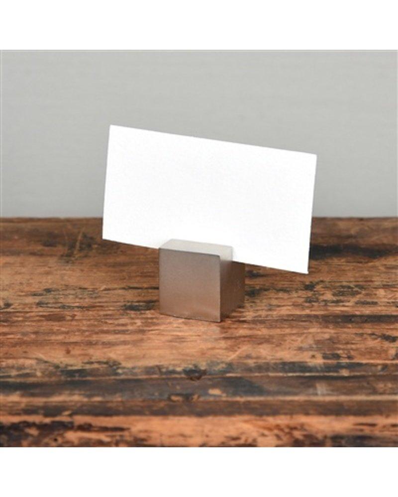 HomArt Nickel Cast Iron Cube Place Card Holder