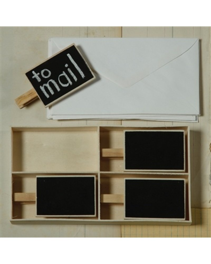 HomArt Chalkboard on Clip - Box of 4 - Natural Wood