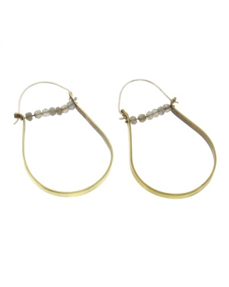 OraTen High Strung Gem Brass Hoop Earring-Grey Moonstone