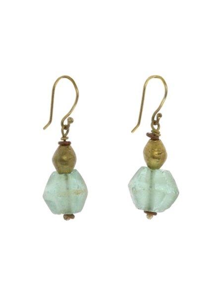 OraTen Seaglass Brass Drop Earrings-Aqua