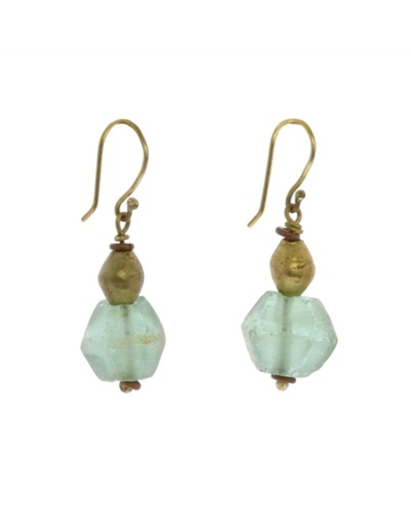 OraTen Seaglass Brass Drop Earrings-Aqua