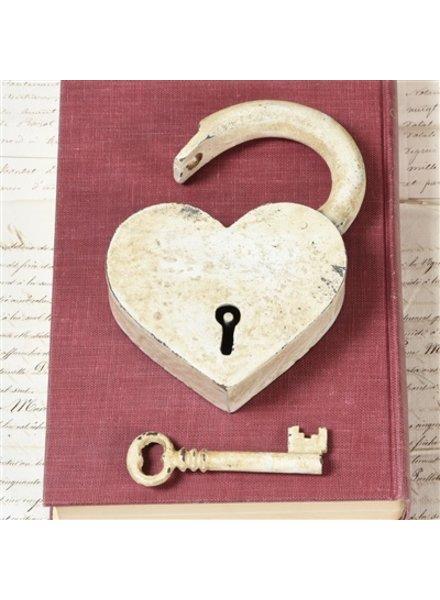 HomArt Heart Lock and Key - Cast Iron Antique White
