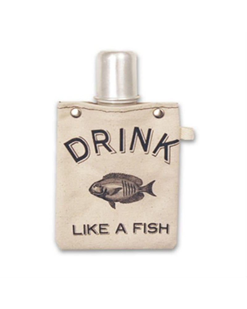 Clay Company Drink Fish Canvas Flask 4oz