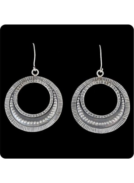 Zig Zag Asian Collection Tribal Hanging Hoop Earrings