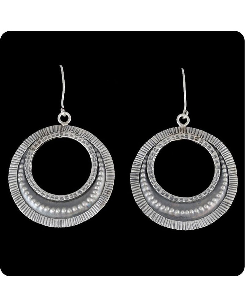Zig Zag Asian Collection Tribal Hanging Hoop Earrings