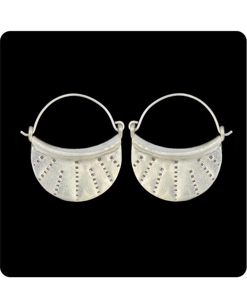 Zig Zag Asian Collection Half Moon Sterling Silver Earrings