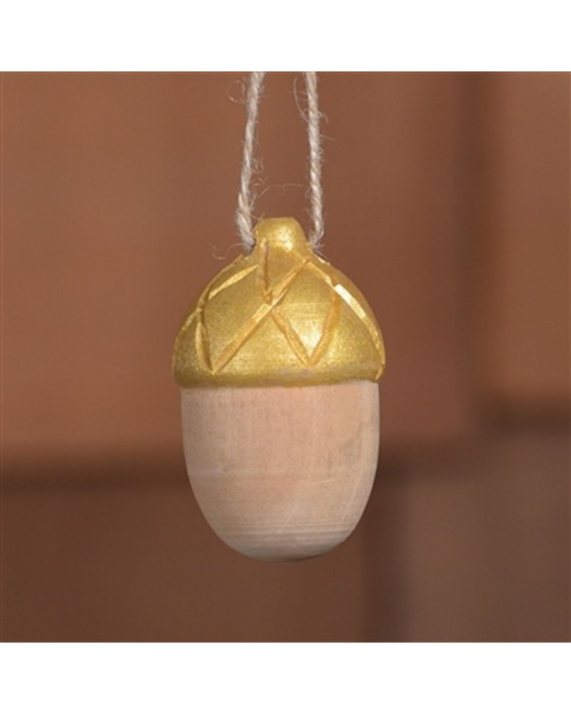 HomArt Carved Wood Acorn Ornament in Natural & Gold