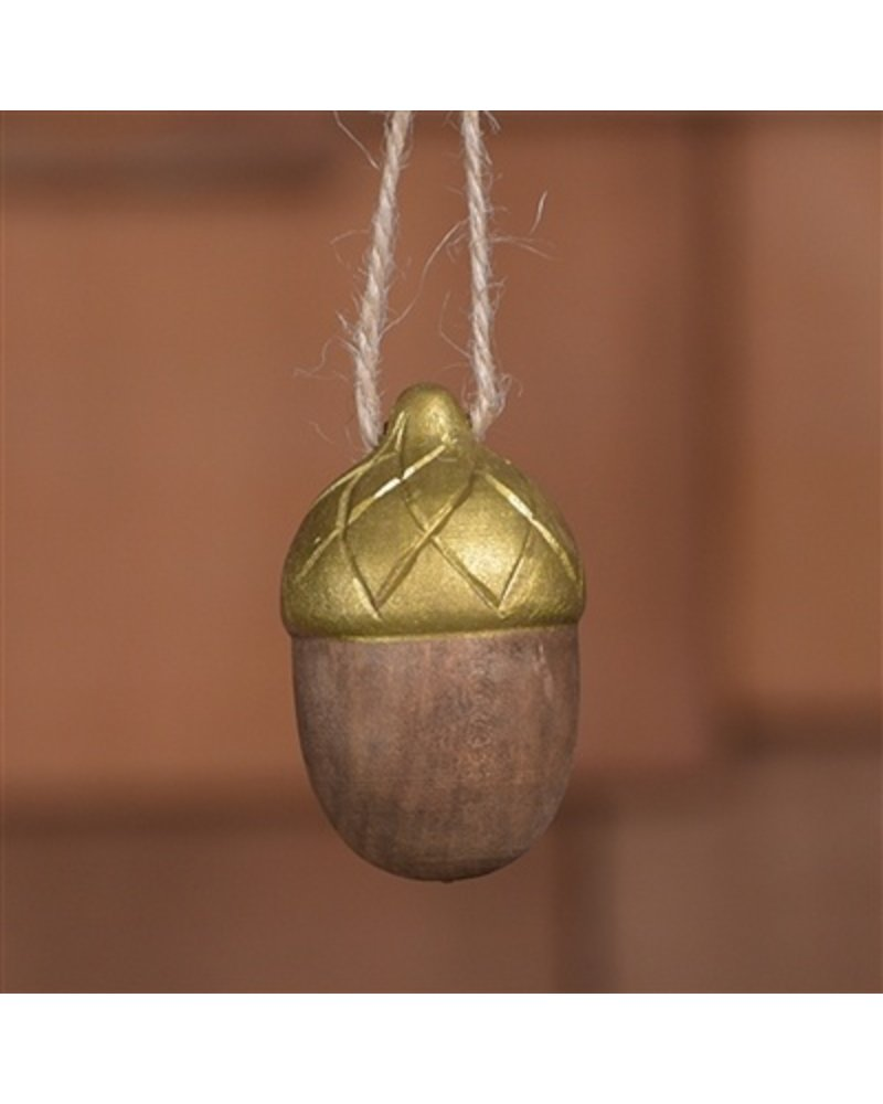 HomArt Carved Wood Acorn Ornament in Brown & Gold