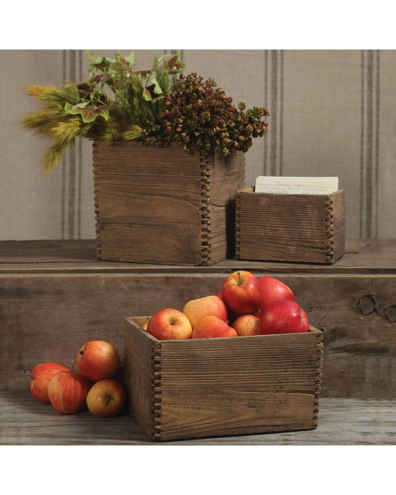 HomArt Box Joint Cement Crate - Lrg Light Brown Wood