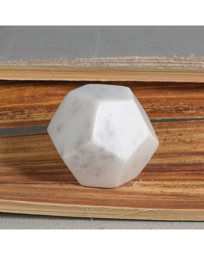 HomArt White Soapstone Geometric Object - Dodecahedron