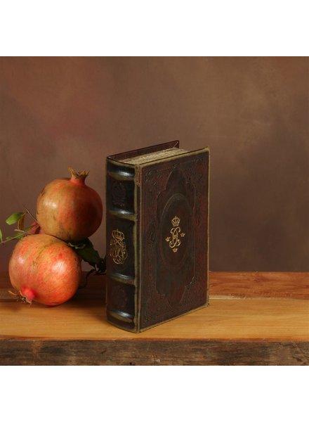 HomArt Royal Embossed Book Box - Monogram - 6.75 in - Brown