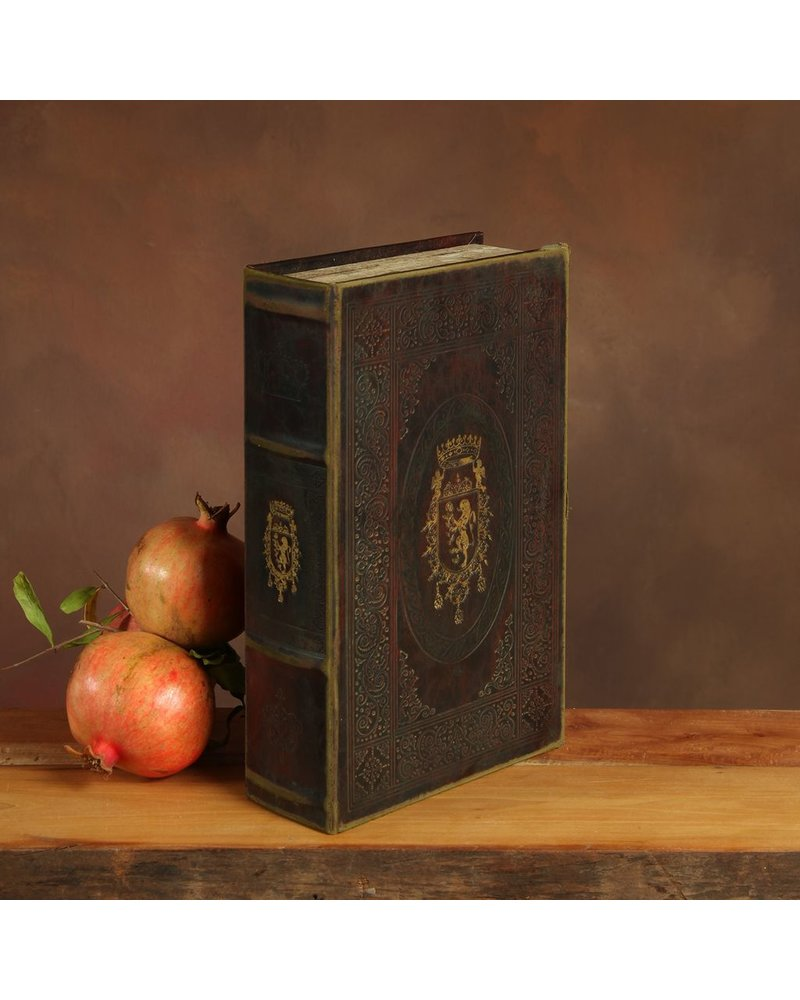 HomArt Royal Embossed Book Box - Crest - 10.5 in - Brown