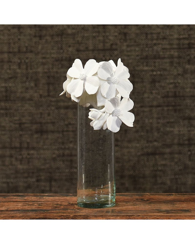 HomArt Glass Vase with Bone China Flower Crown