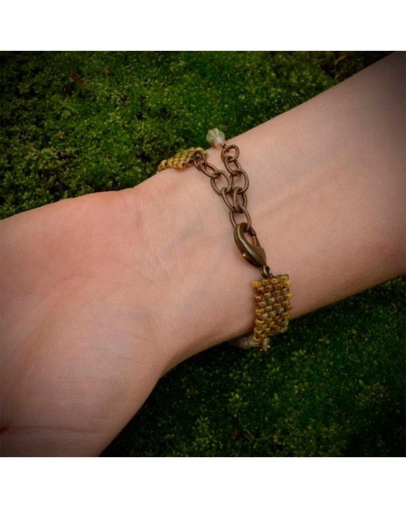 Pixie & Corelli Cream Beaded Charm Bracelet
