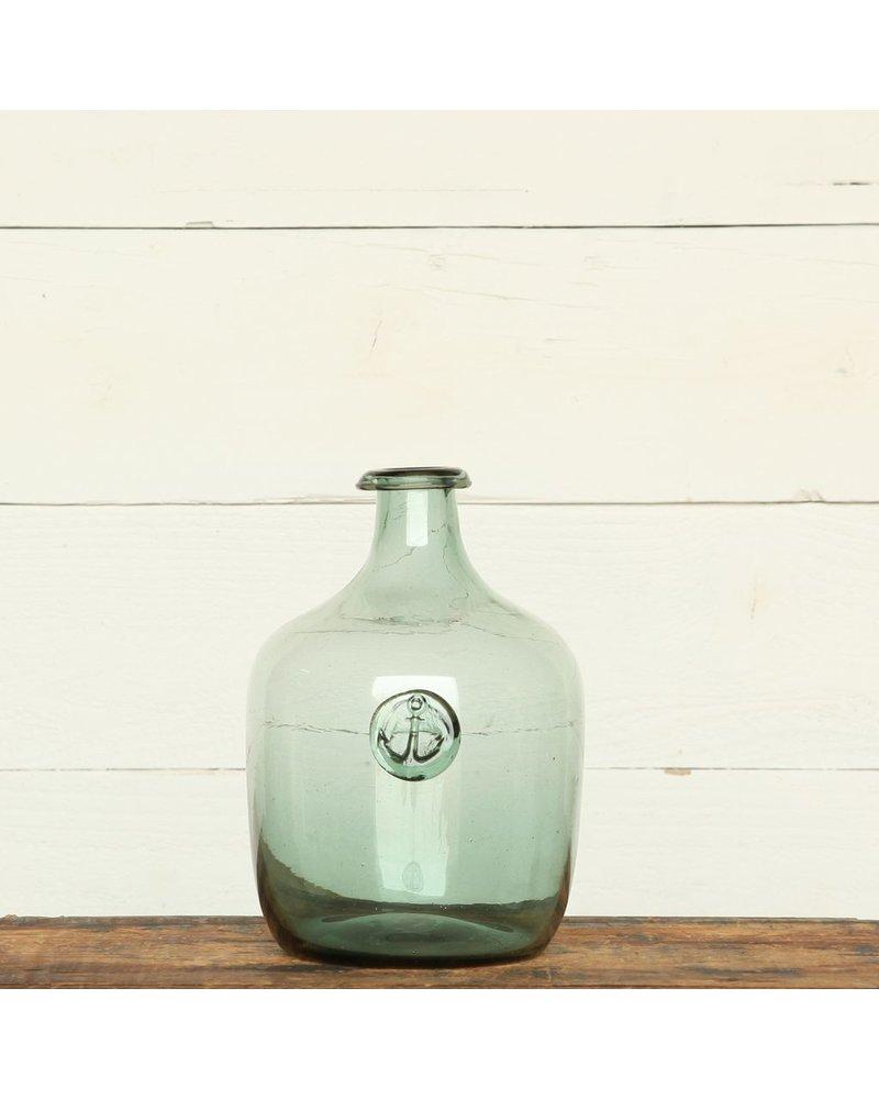 HomArt Anchor Stamped Glass Bottles -Lrg - Smoke Green
