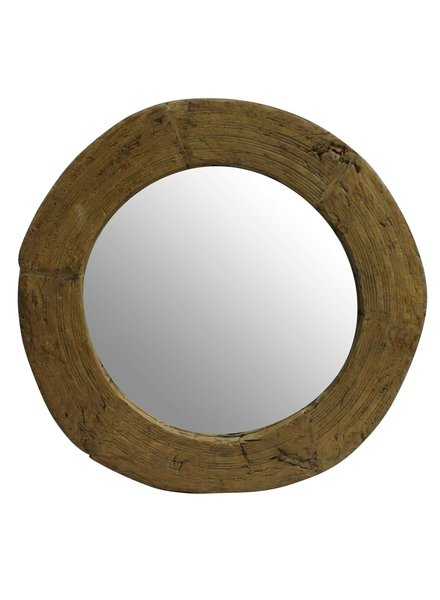 HomArt Nomad Reclaimed Wood Wheel Mirror Natural
