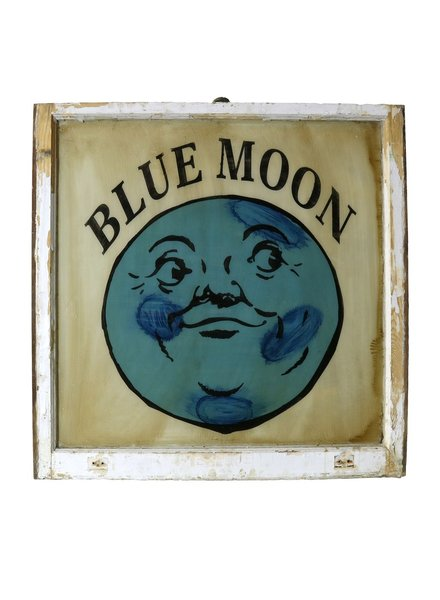 Vintage Window Art - Blue Moon