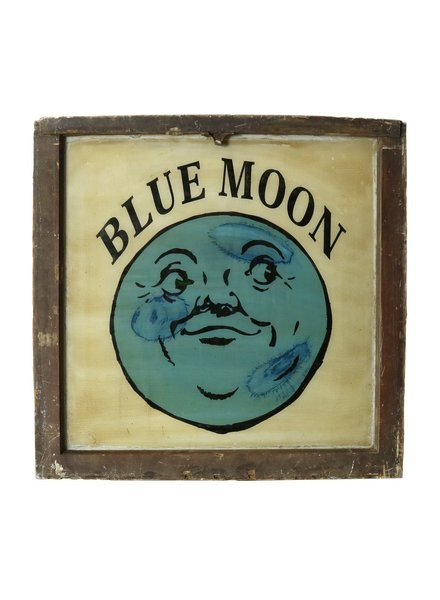 Vintage Window Art - Blue Moon