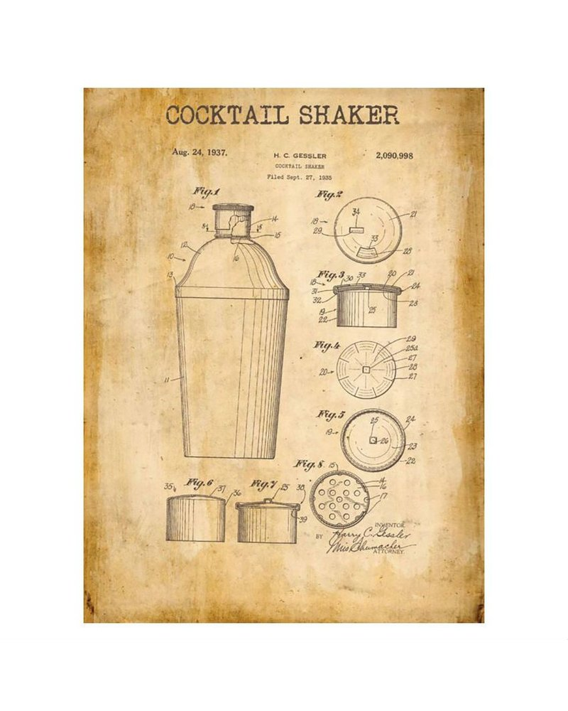 Watson & Co Standard Cocktail Shaker Patent Sign 12x16
