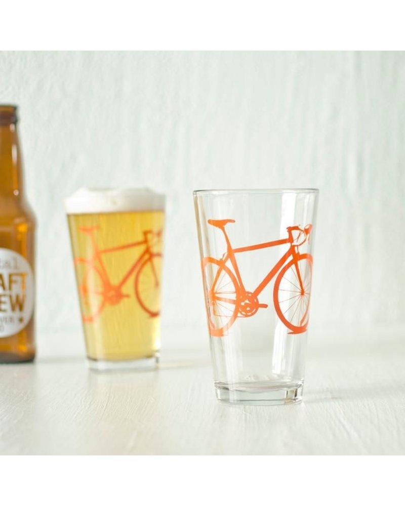 Vital Industries Bicycle Glass Pint 16oz -Orange