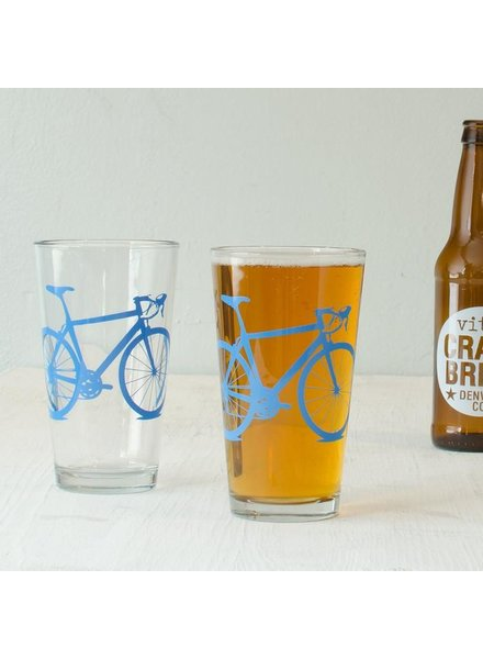 Vital Industries Bicycle Glass Pint 16oz -Bluebird