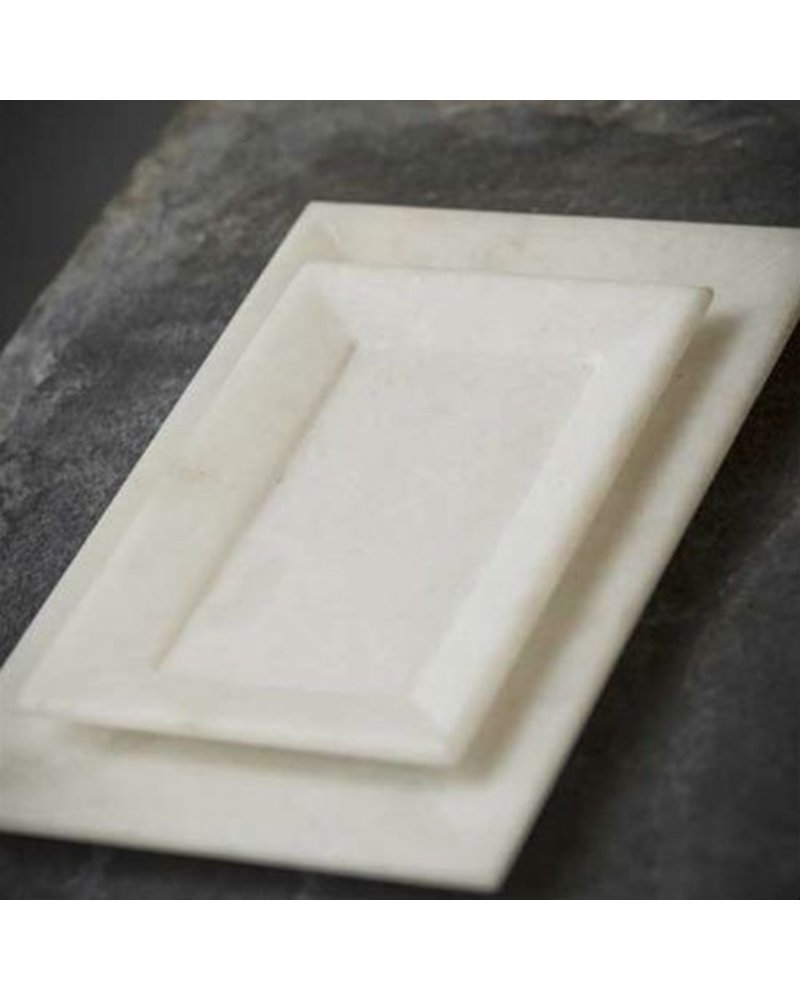 Vagabond Vintage Furnishings Hnad Carved Marble Tray - White