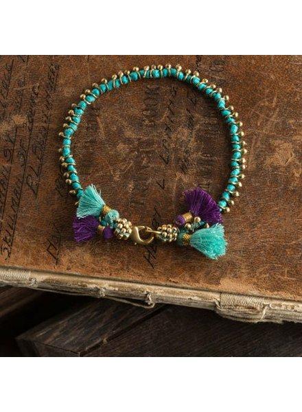 Vagabond Vintage Furnishings Bohemian Bracelet Turuoise with Purple Tassels