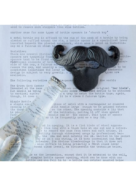 HomArt Mustache Bottle Opener - Black
