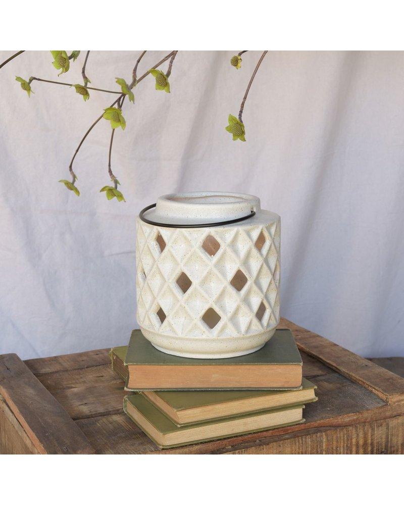 HomArt Gemma Lantern, Ceramic - White