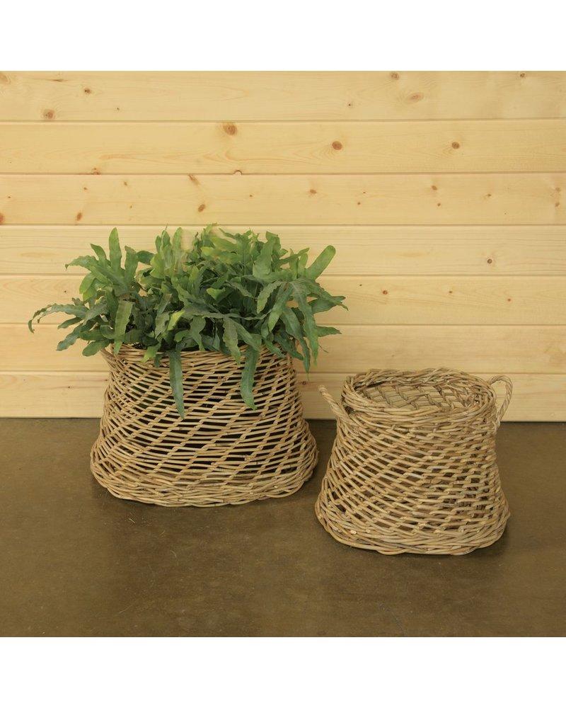 HomArt Coronado Rattan Oval Basket - Set of 2 - Rustique Grey