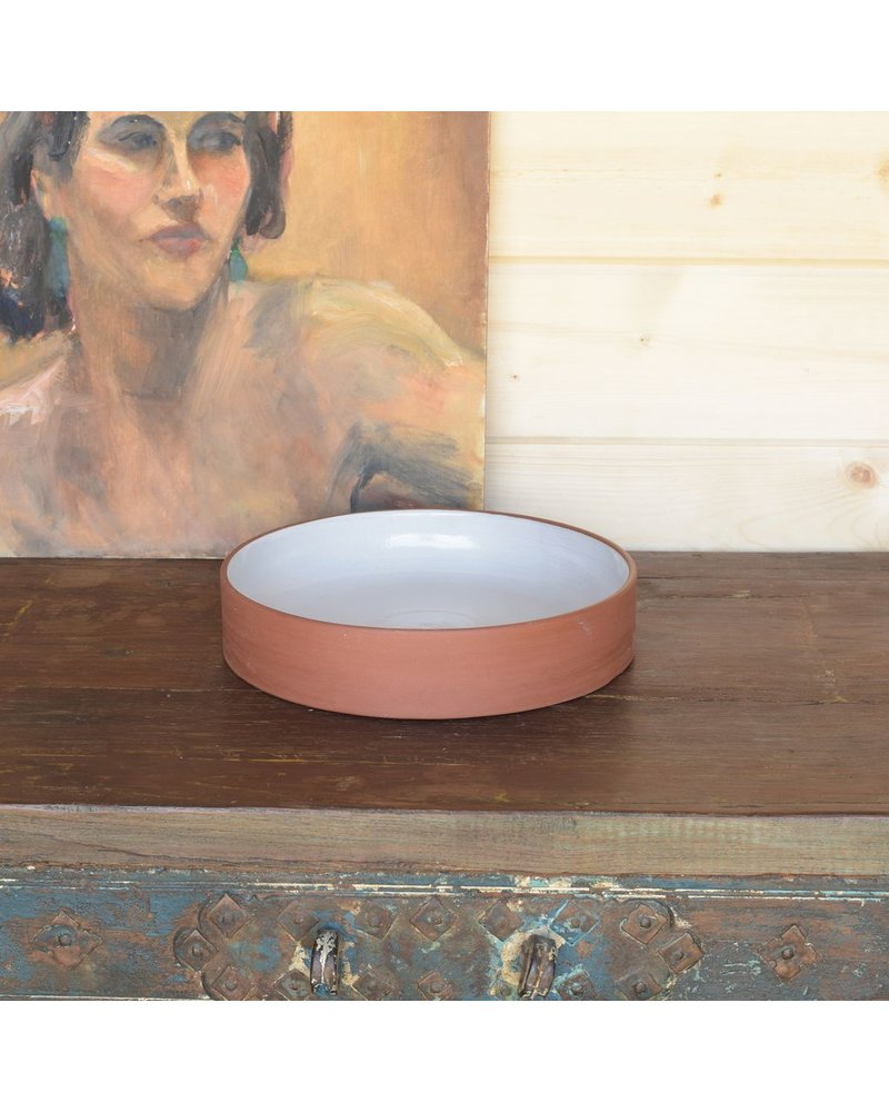 HomArt Corbet Bowl - Lrg - Red Clay, White Glaze