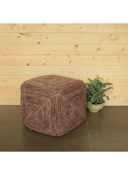 HomArt Santa Cruz Hemp Pouf - Square - Washed Burnt Red