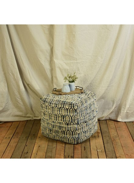 HomArt Strauss Pouf - Square - Ogee Pattern