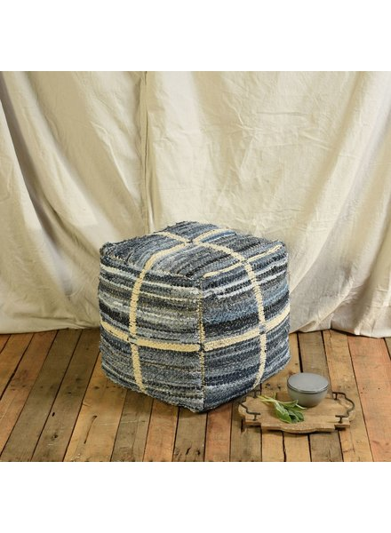 HomArt Strauss Pouf - Square - Grid Pattern