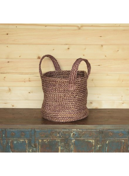 HomArt Santa Cruz Braided Hemp Basket - Washed Burnt Red