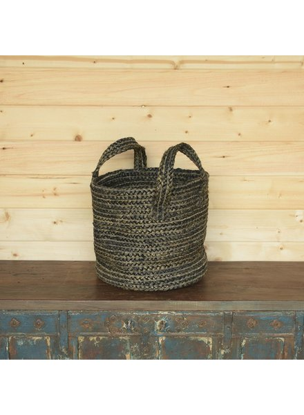 HomArt Santa Cruz Braided Hemp Basket - Washed Stone Blue