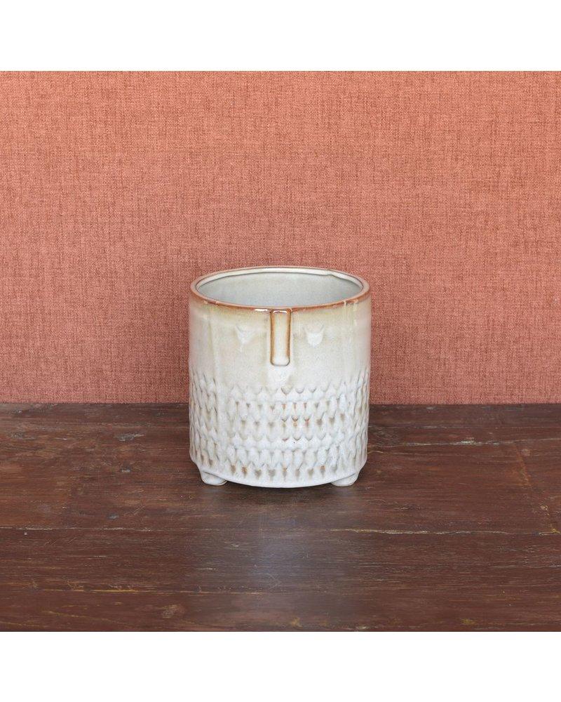 HomArt Clive Ceramic Cachepot - Sm - Fancy Beige