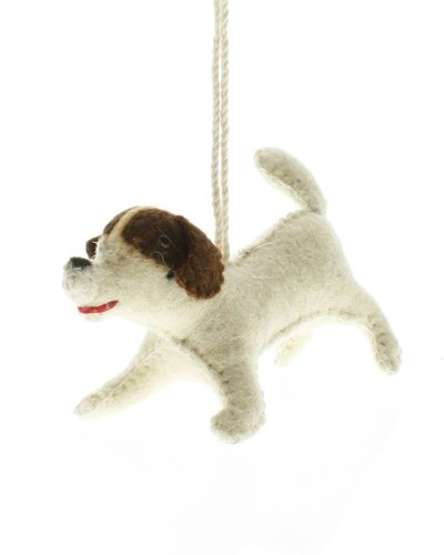 homart felt dog ornament brown spotted terrier areohome