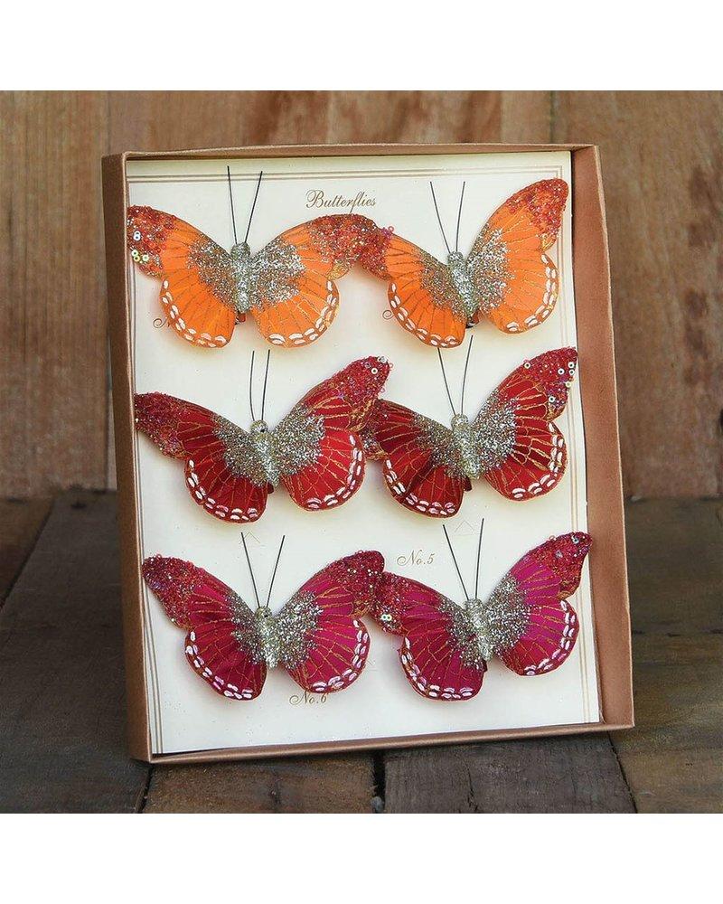 HomArt Mandarin Glitter Butterflies on Clip - Box of 6 Assorted - Orange, Red, Magenta