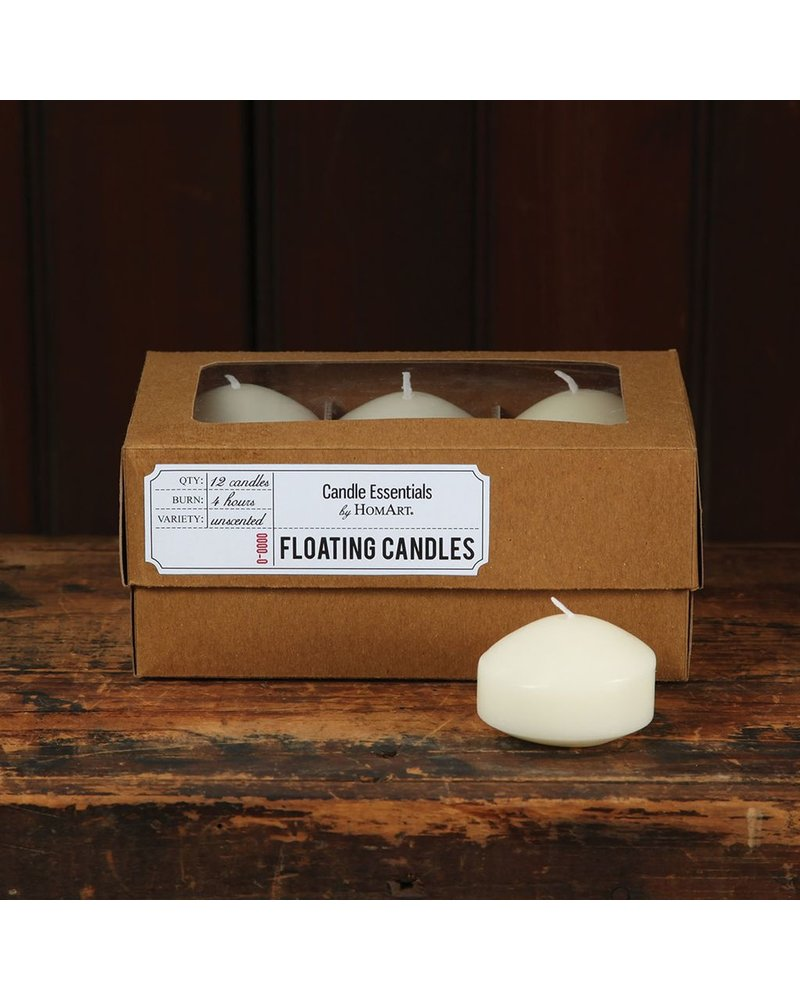 HomArt Floating Candles - Box of 12 Ivory
