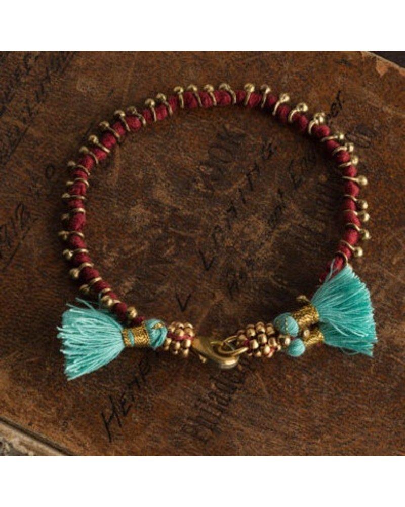 Vagabond Vintage Furnishings Bohemian Bracelet Red with Turquoise Tassels