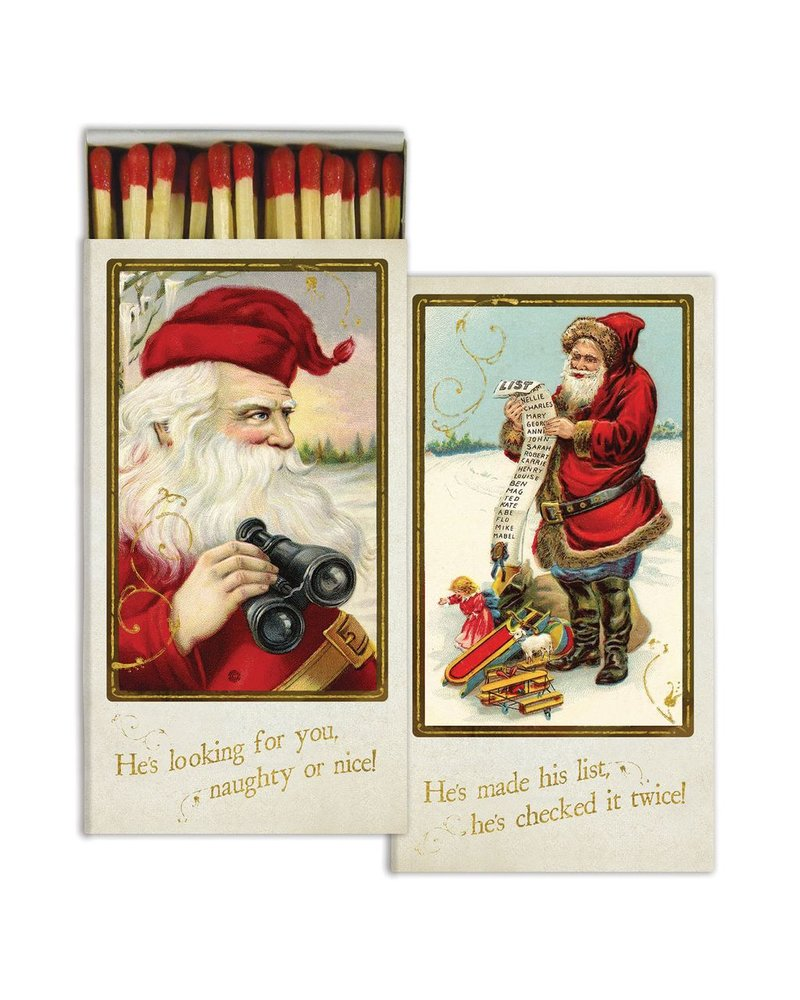 HomArt Matches - Santa's Watching - Gold Foil - Set of 3